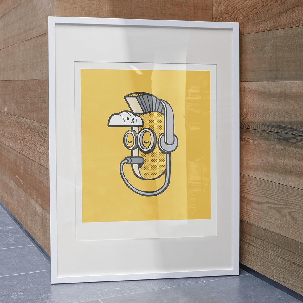 Afbeelding 3 van 4 - Illustratie 'Inner Punk', op gele achtergrond. Het hoofd heeft de koptelefoon plug in eigen mond. Een metafoor voor 'luister naar je eigen innerlijke stem'. Ook verkrijgbaar als limited edition print op webshop MrUpside.com.