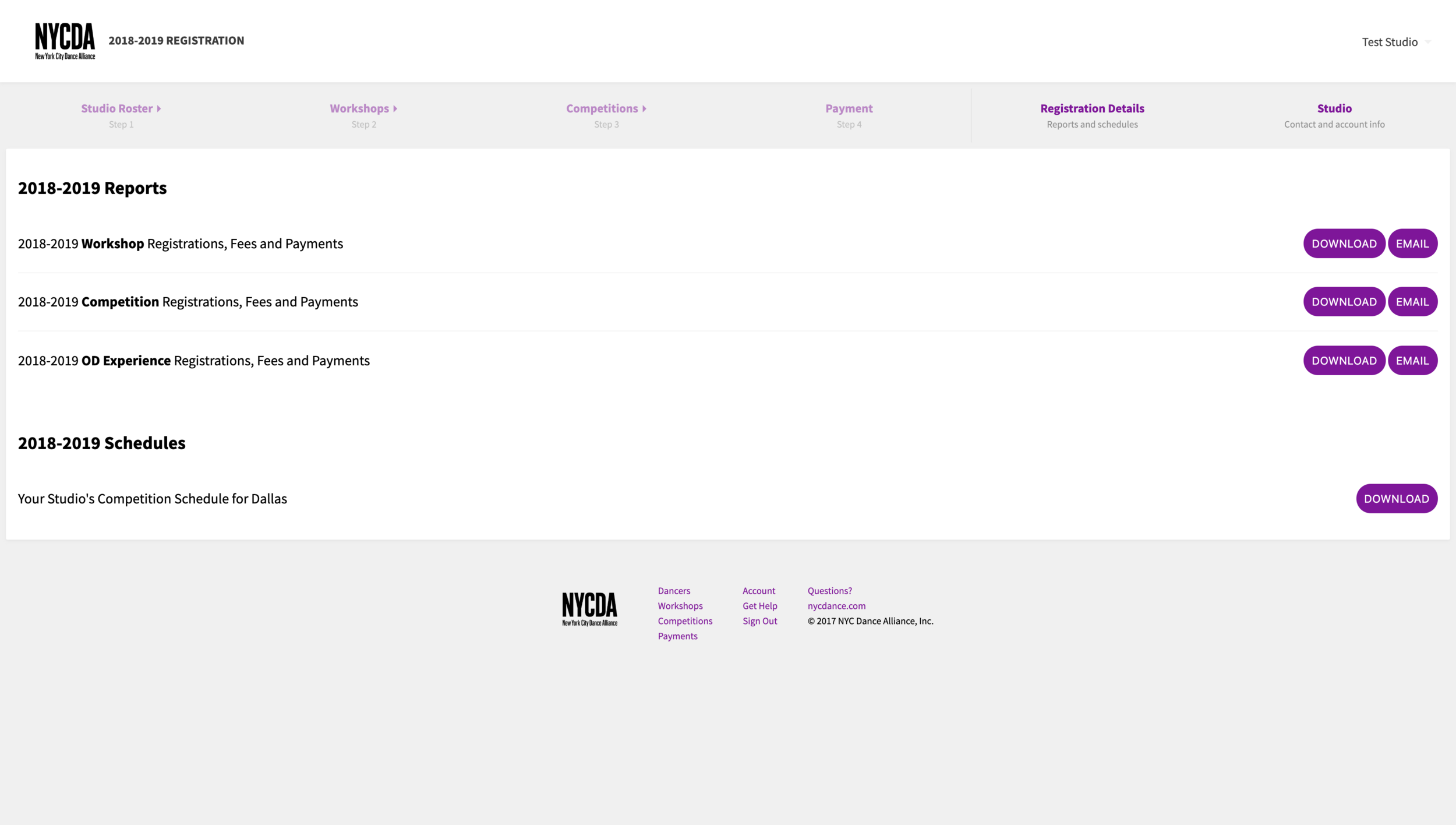 Registration details (wireframes)