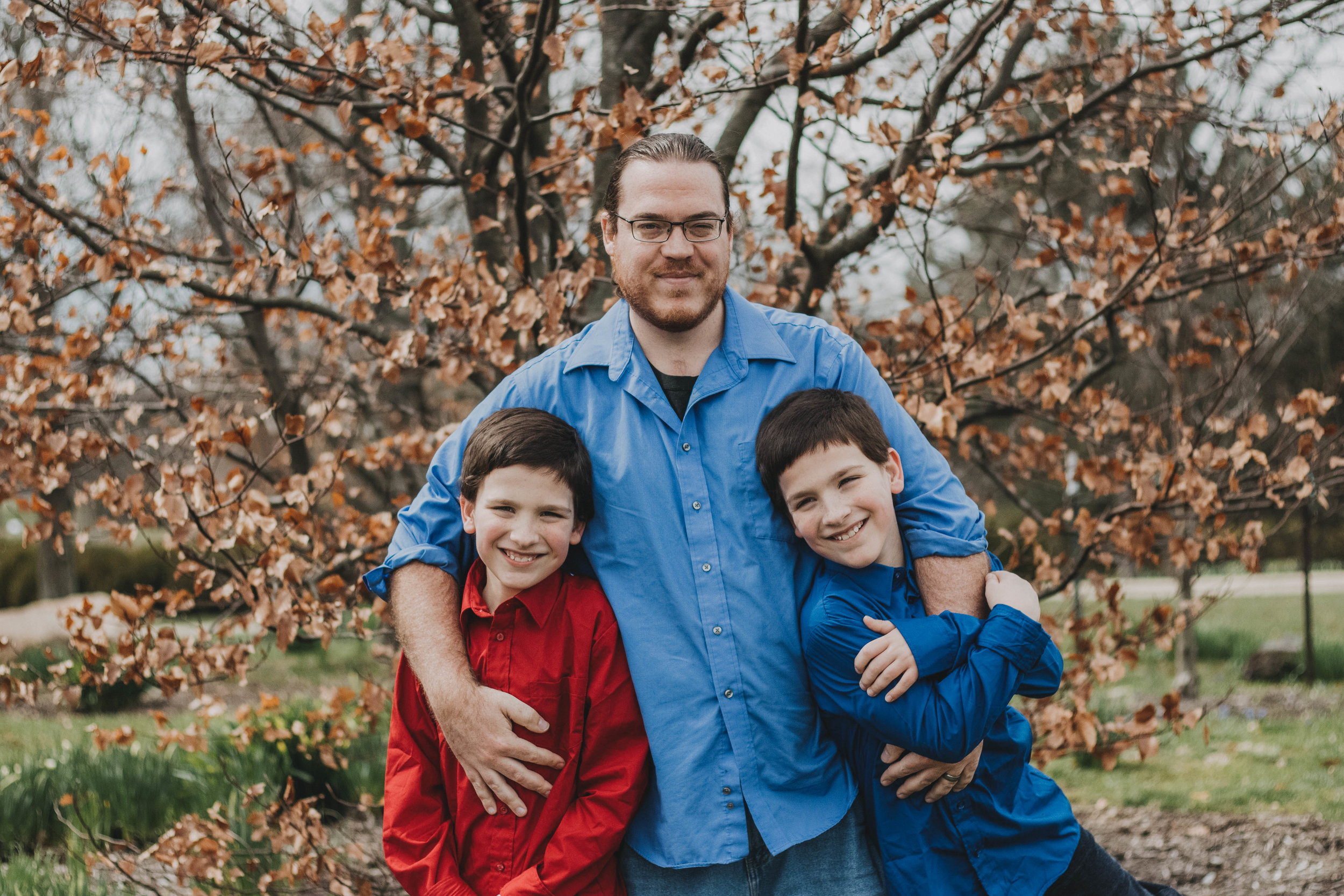 Father with Twin Sons | Miamisburg Family Portrait Photographer
