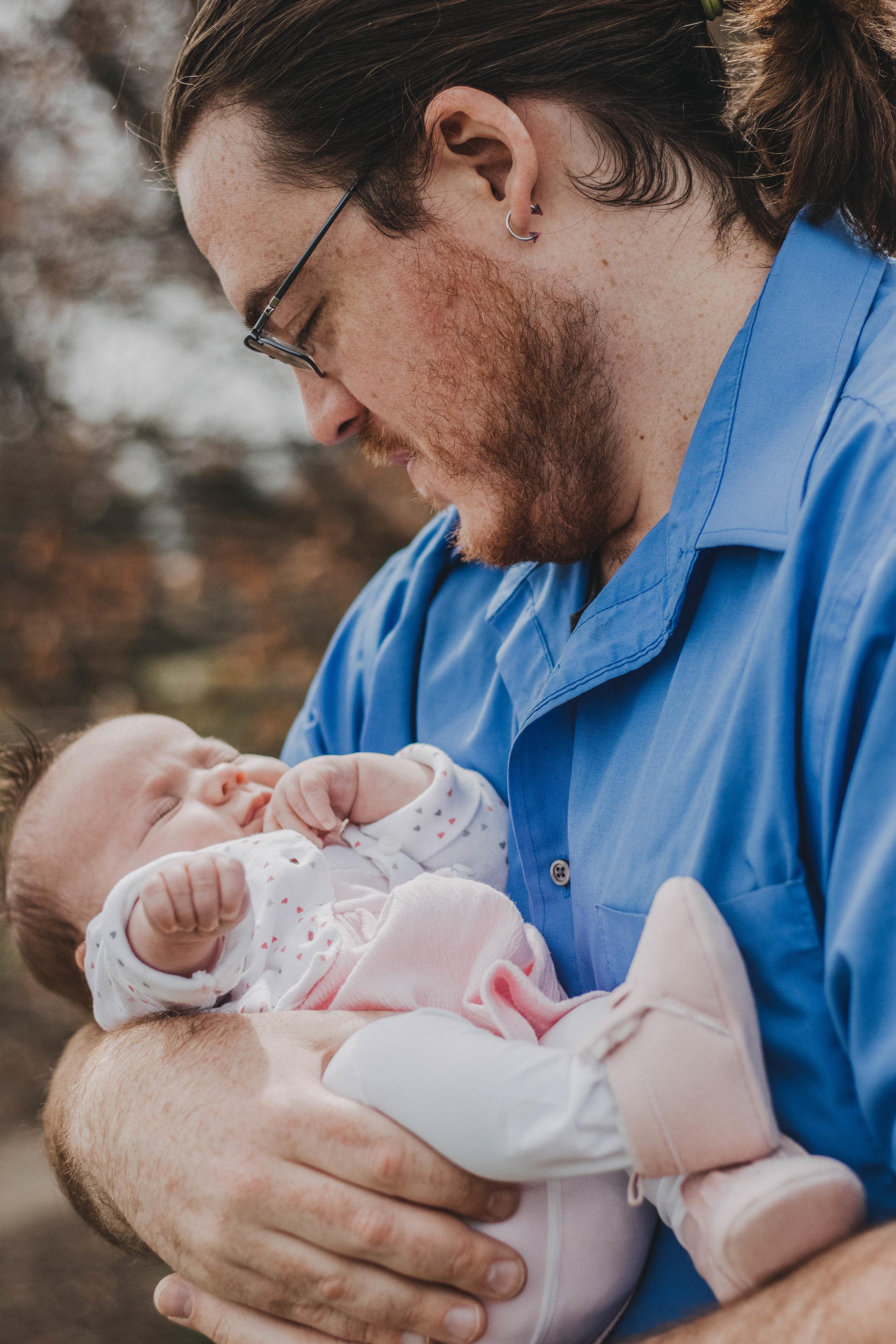 Father & Newborn Daughter | Miamisburg Family Photographer