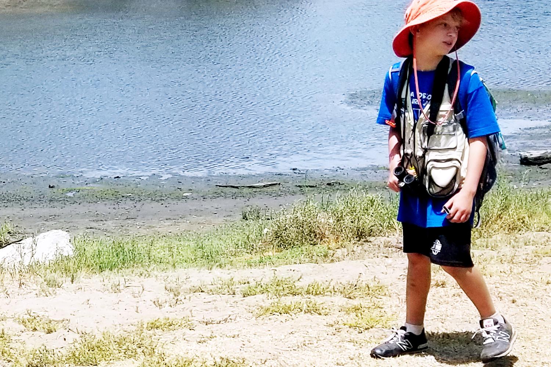 Camper walking along Ballona Creek