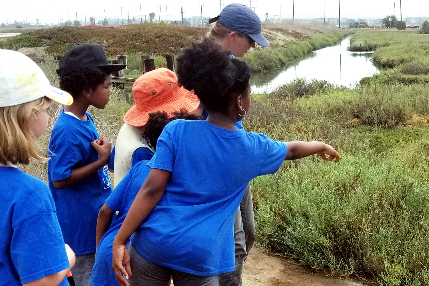 Campers at Saltwater Marsh, girl pointing at wildlife