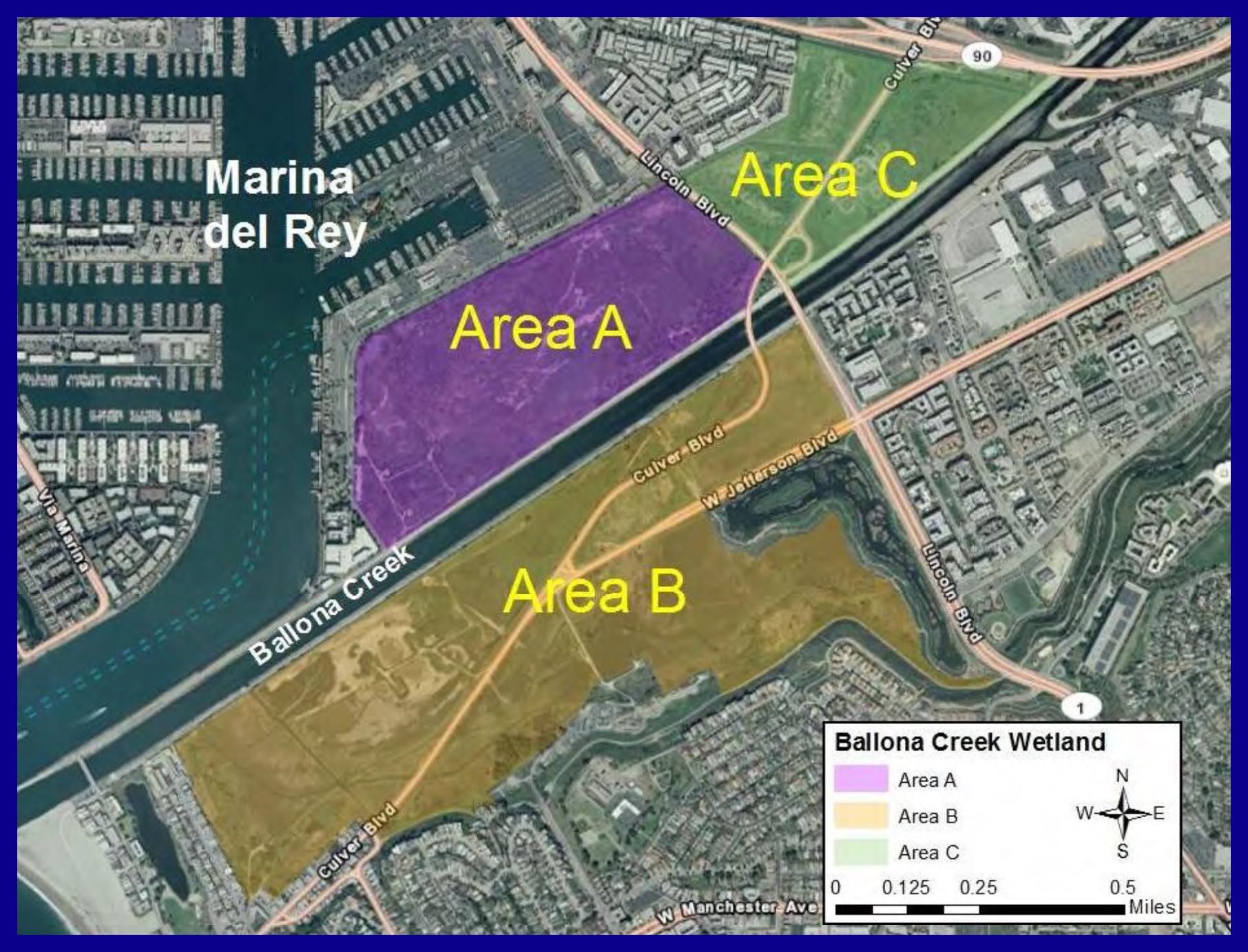 Ballona Wetlands Area A, B, C Map