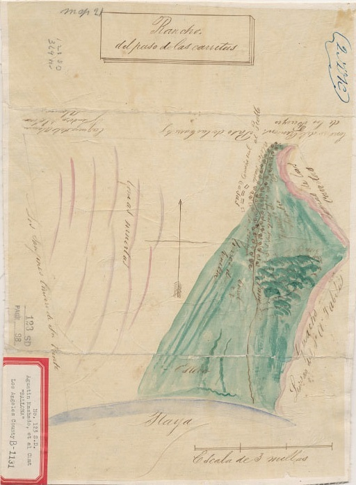 Diseno of Rancho del paso de las carretas, later Rancho la Ballona, circa 1840s