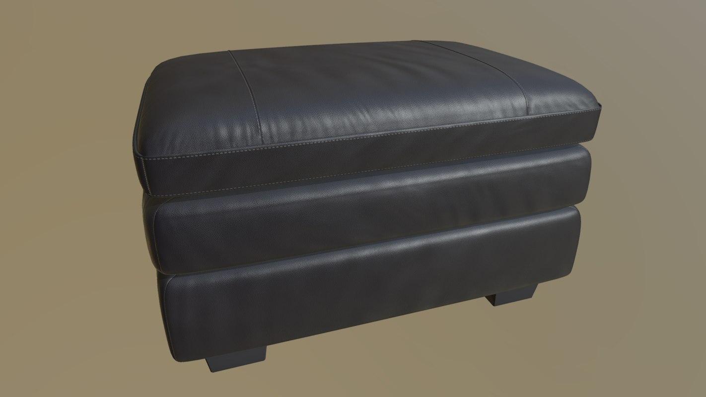 Gleason Leather Footstool