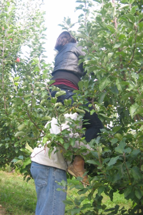 Feeling supported is a huge part of connection! My brother and I picking apples, 2011.