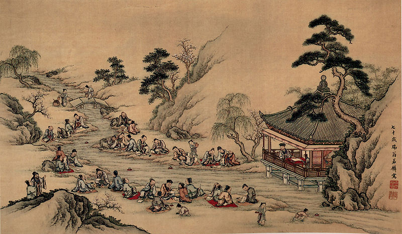 The  Orchid Pavilion Gathering  as depicted in an 18th-century Japanese painting. (Wikipedia)