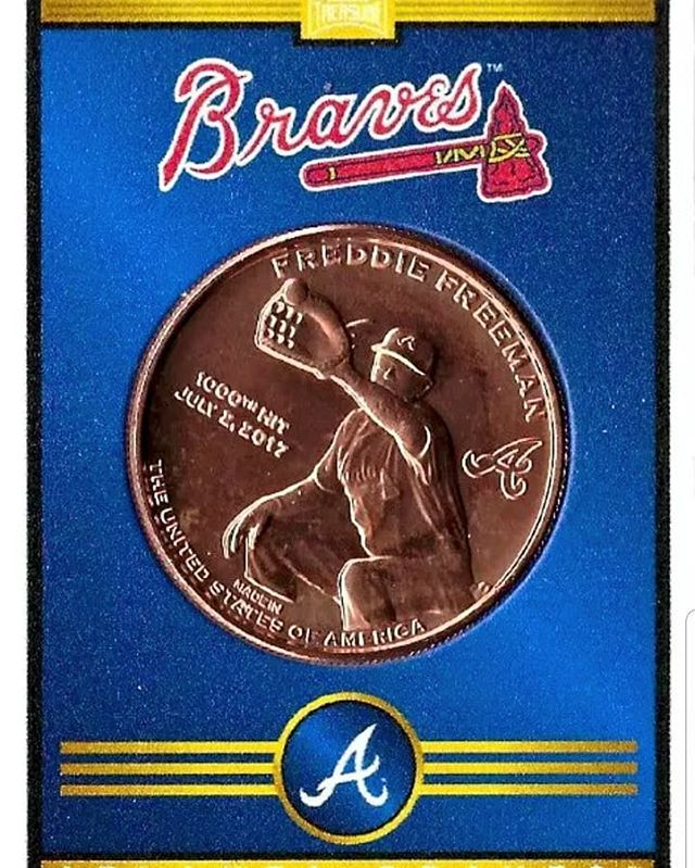 Nice walk off Freddie Freeman #chopon #atlanta #braves #baseball #coins #baseballcards #hitcoins #baseballtreasure