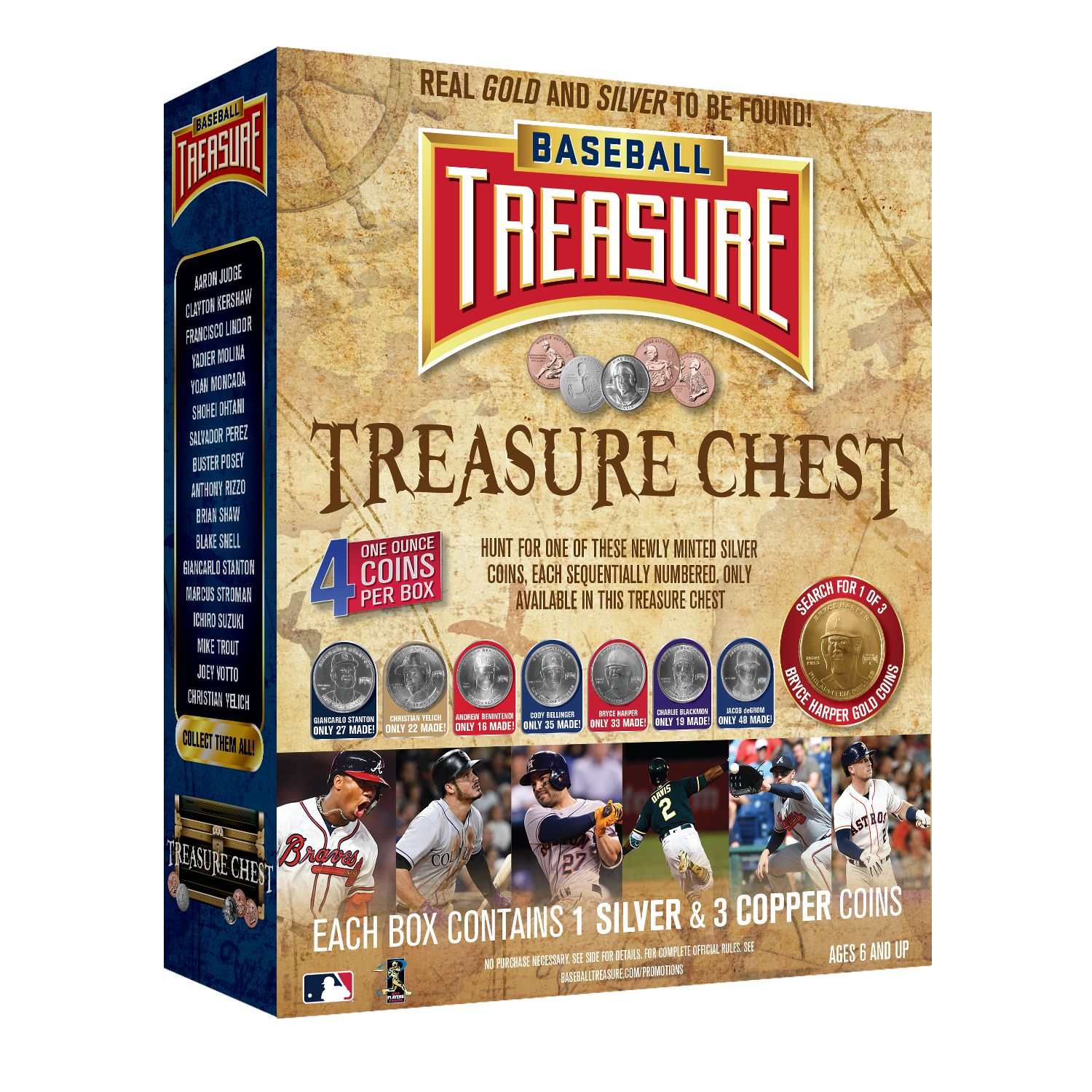 Each Treasure Chest will have :  1  Silver Coin , each .999% pure silver minted coin of a baseball Superstar. 1:6 boxes will have a sequentially numbered edition Silver coin that has never before been minted. Every 6th box (1 per case) at random will have either a  Christian Yelich Silver Coin  (1 of 22),  Andrew Benintendi Silver Coin  (1 of 16),  Cody Bellinger Silver Coin  (1 of 35),  Giancarlo Stanton Silver Coin  (1 of 27),  Bryce Harper Silver Coin  (1 of 33), a  Jacob deGrom Silver Coin ( 1 of 48) or a  Charlie Blackmon Silver Coin  (1 of 19). These three numbered silver coins have never been released before, nor will they ever be released again. These are the only silver copies of these three stars of the 2019 season.  3 Copper Coins, each .999% pure copper minted coin of a baseball Superstar - Hunt for all 32 copper coins at random from the collection.   Very Special Treasure Chest Bonus....   Search for Gold! 3 redemption coins are found 1 in every 400 boxes at random. These can be redeemed for an incredibly special, 1 oz .999%  pure GOLD minted coin of Bryce Harper. Only 3 have been made - only 3 will ever be made-  in pure GOLD! The intrinsic value, as well as the collectible value of numbering that matches Harper's  Phillies  uniform number makes this an amazing opportunity for Harper fans!    Collectors, Box Breakers and Fans will have fun with this Treasure Chest - every chest opened contains precious metal. Captain Jack Sparrow will be jealous!