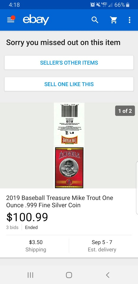 Mike Trout Silver Coin Baseball Treasure