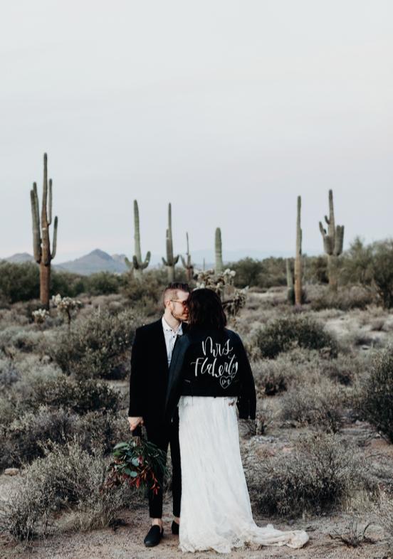 arizona desert elopement with bride and groom