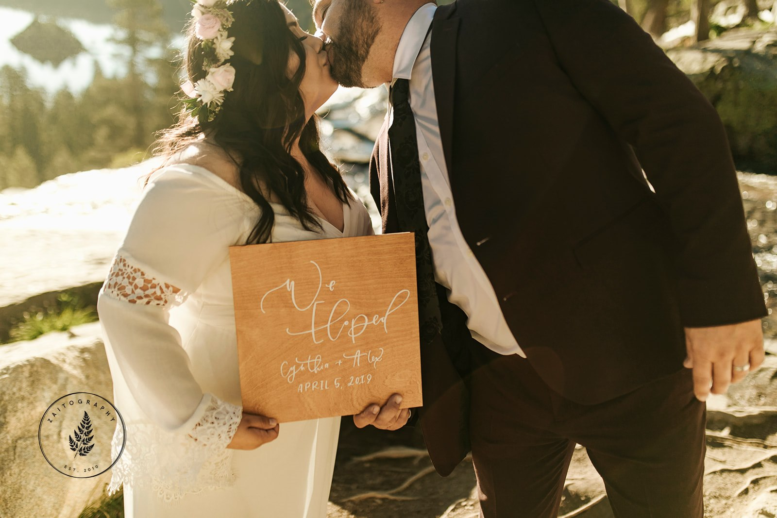 """We Eloped!"" Sign for Lake Tahoe Elopement"