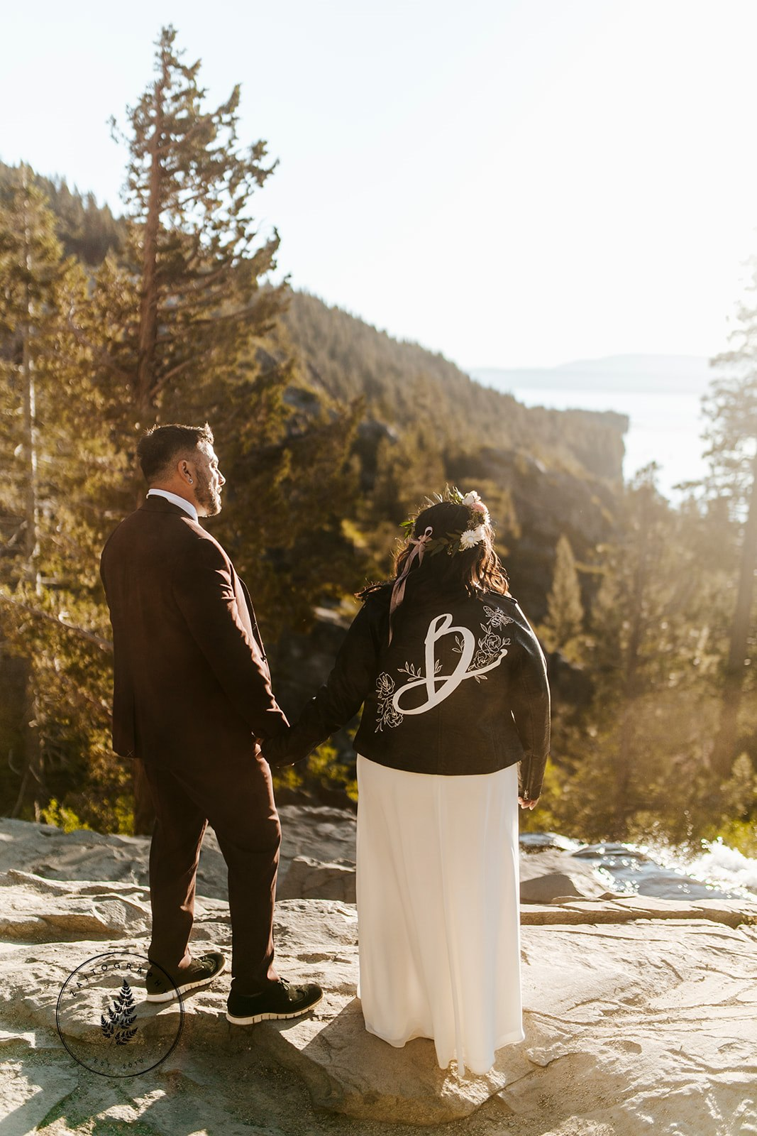 Lake Tahoe Elopment Leather Bridal Jacket