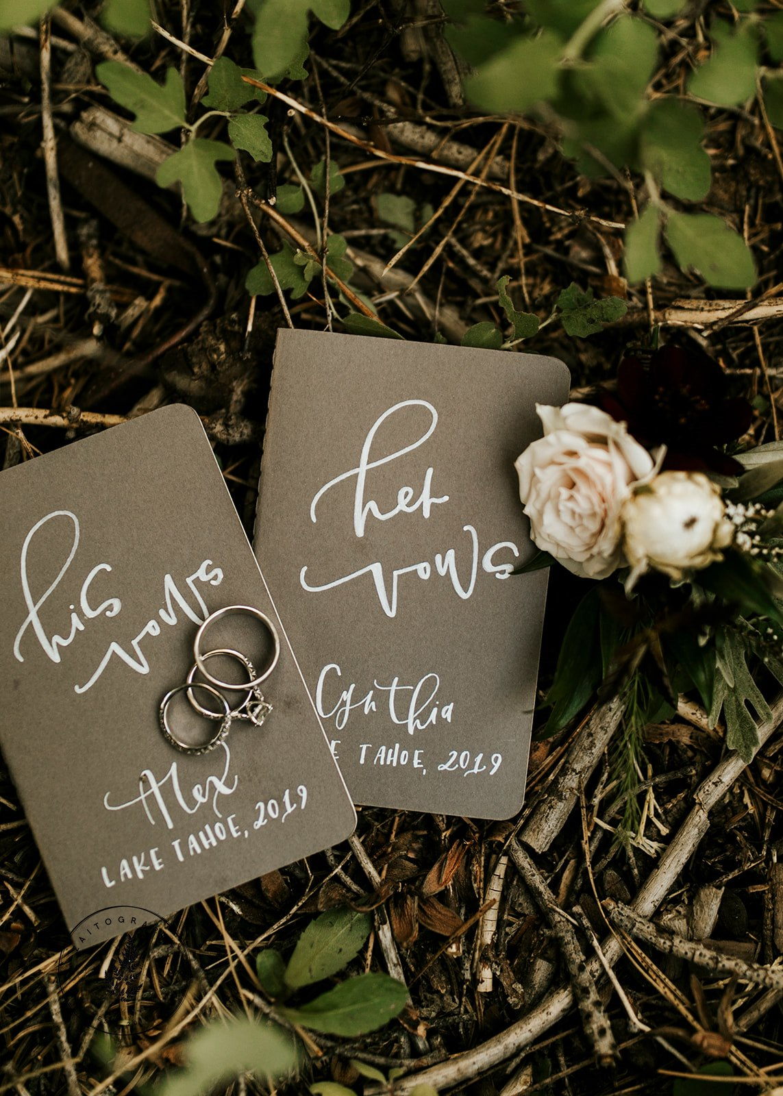 Bride and Groom Vow Books Hand Lettered Calligraphy
