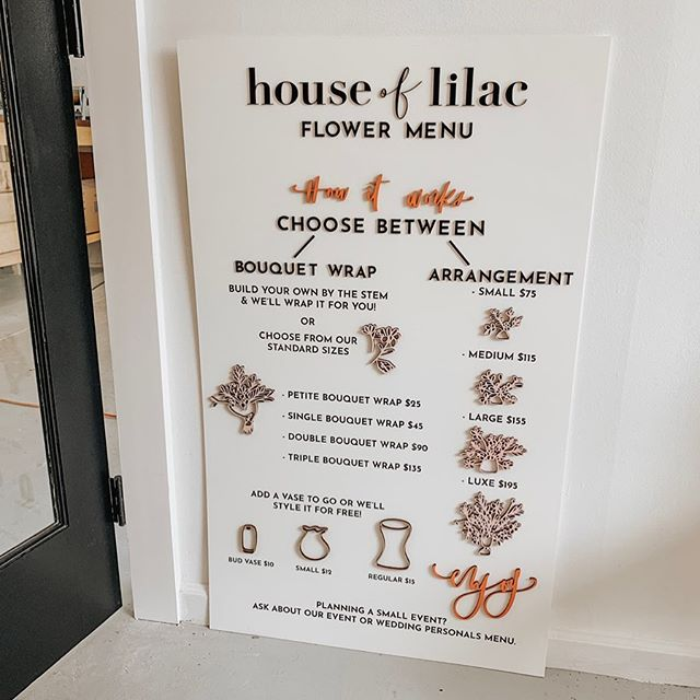 still over the 🌙 about this flower menu sitting pretty at @houseoflilac  miami locals, make sure you come visit!  laser engraved & cut elements for all the 😍😍😍