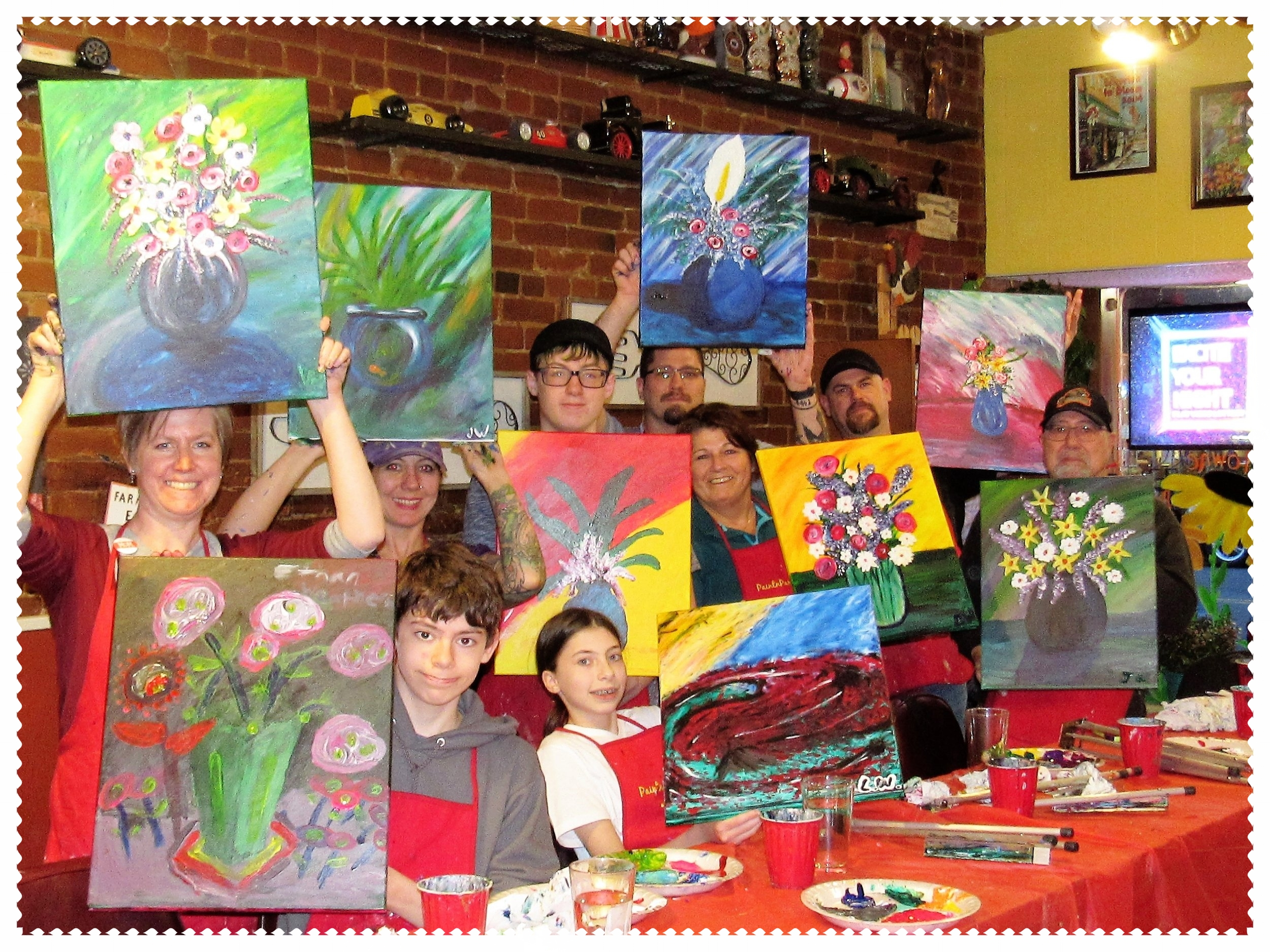 Towne House Cafe, Silverton - Family Night Finger Paint Boquets