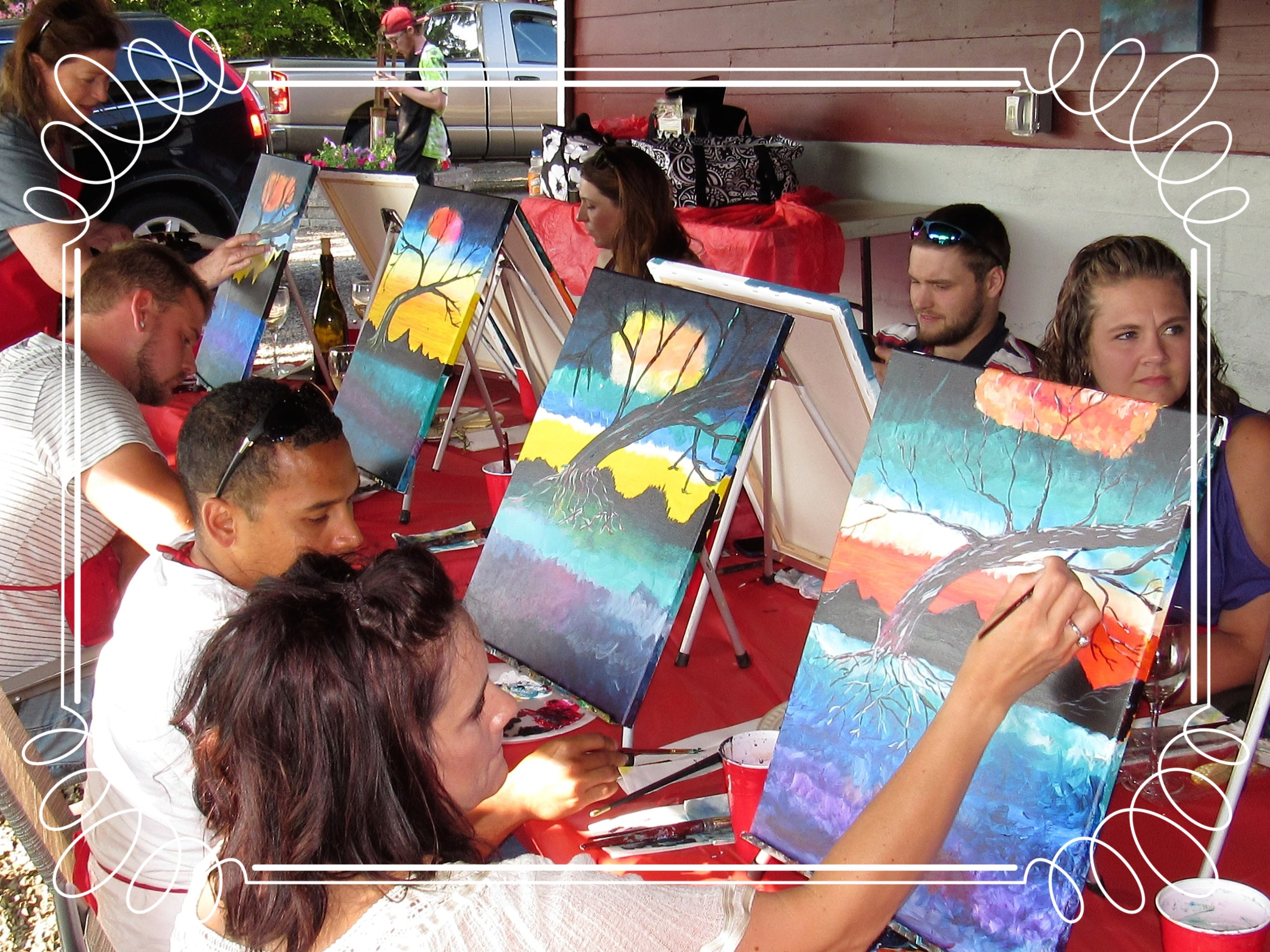 Outside PaintnParty, Springhills Cellars Winery, Albany