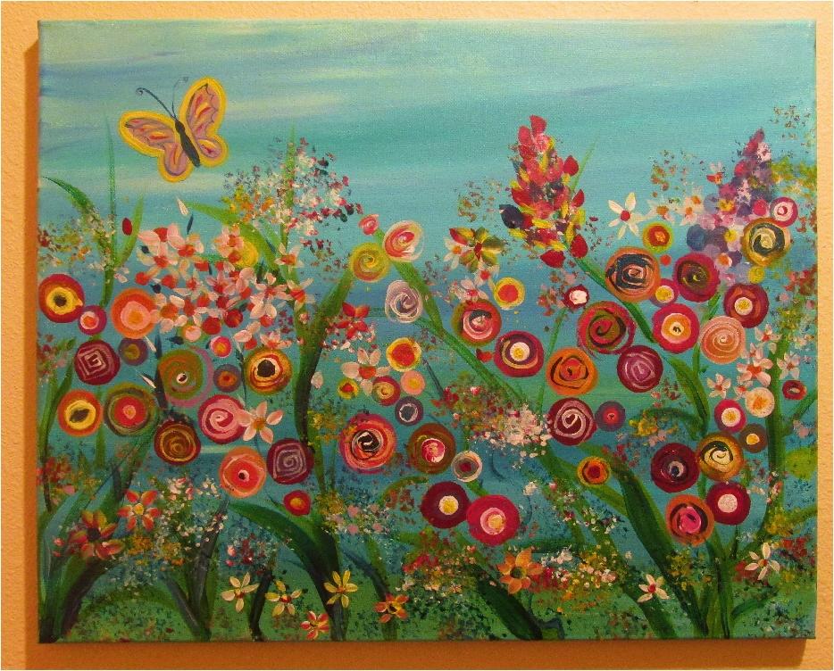 $40 Butterfly Garden-Aqua