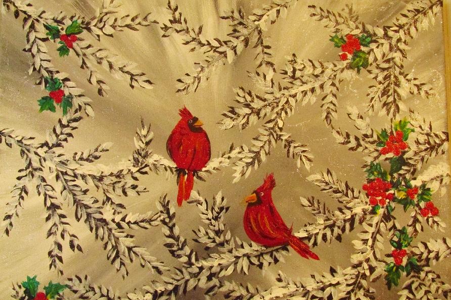 $35 Winter Cardinals Holly