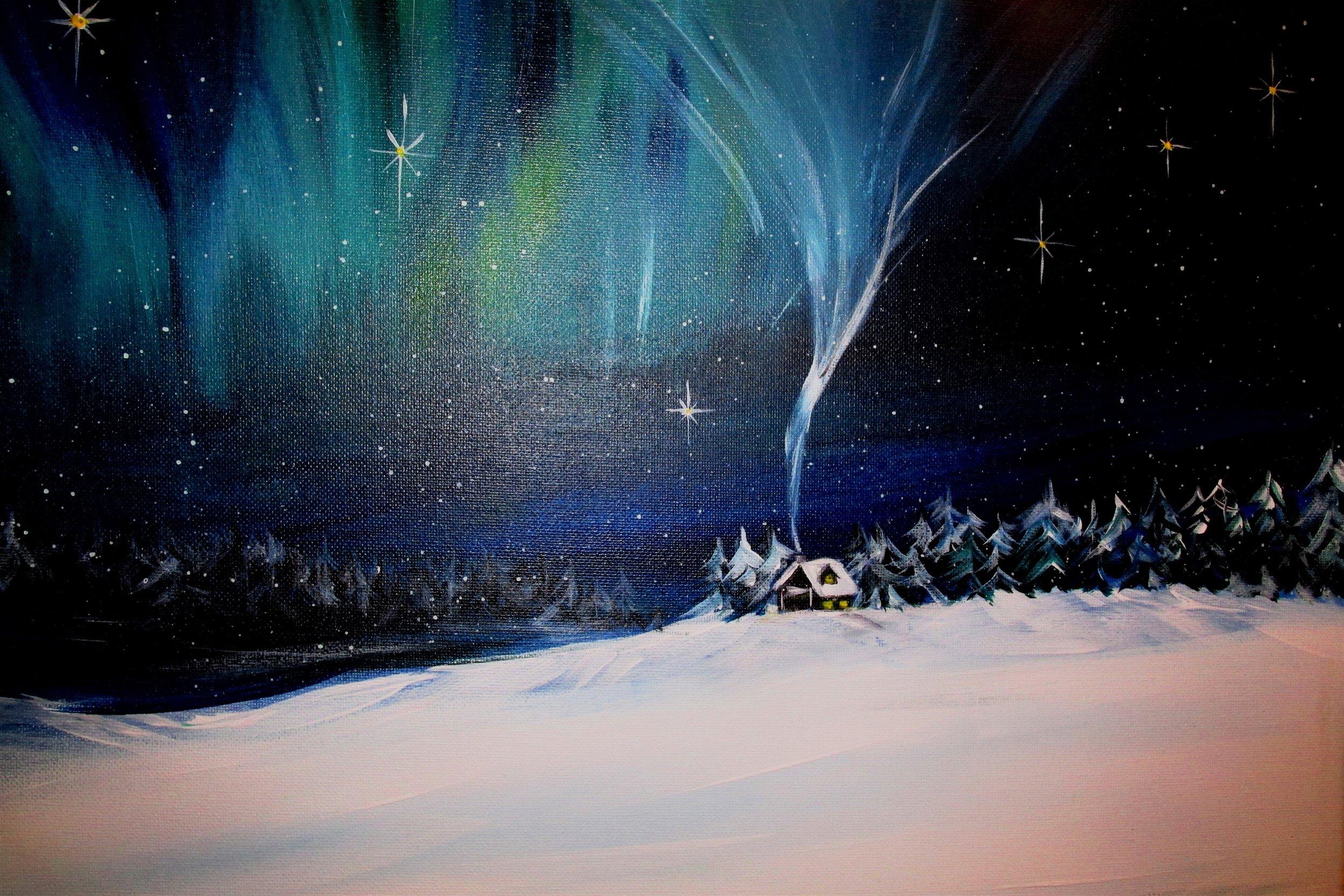 $35 Northern Lights Winter Cabin
