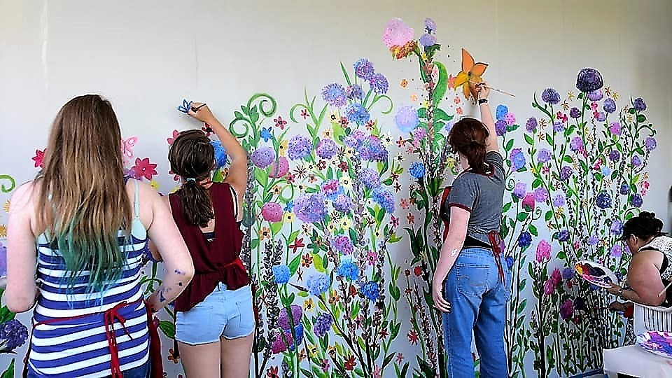 wall flowers painting party package! - on your blank wall!