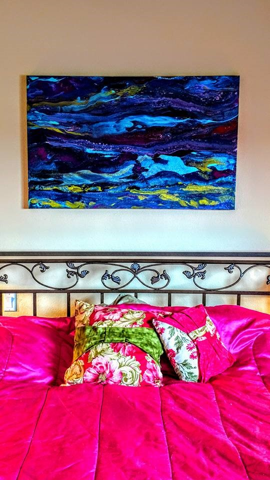 FLUID ART METALLIC ABSTRACT - BEDROOM ABSTRACTS IN COLORS YOU LOVE!