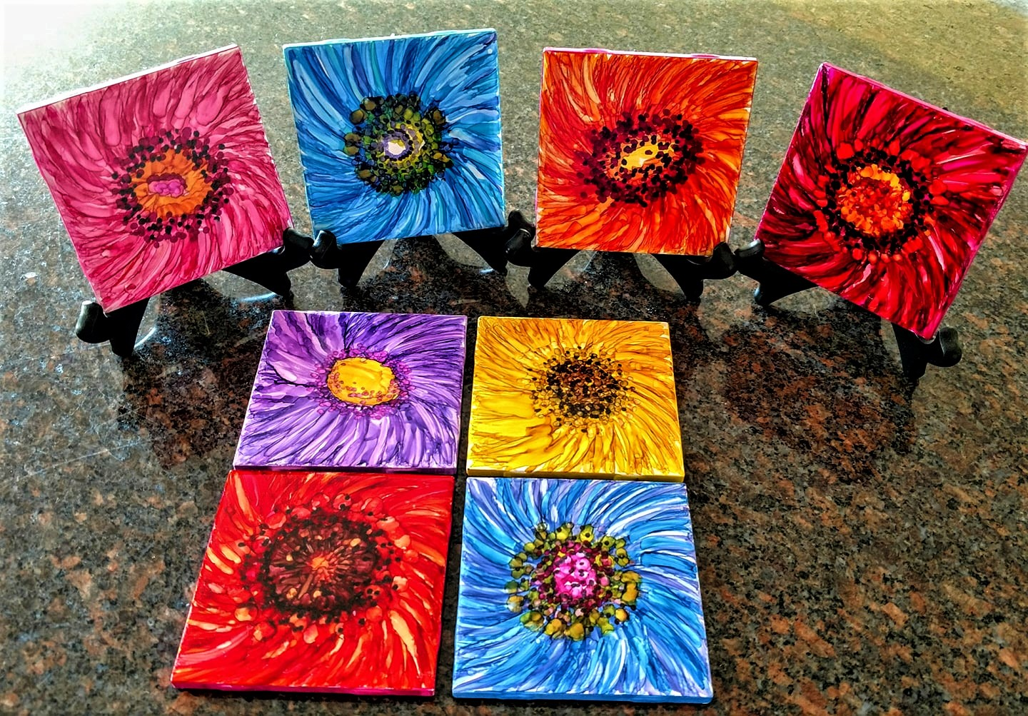 "4X4 ""Late Bloomers"" on Ceramic Tiles with alcohol ink markers Display Sold Separately   Host a PaintnParty 4/4x4 or 2/6x6 Tiles $40"