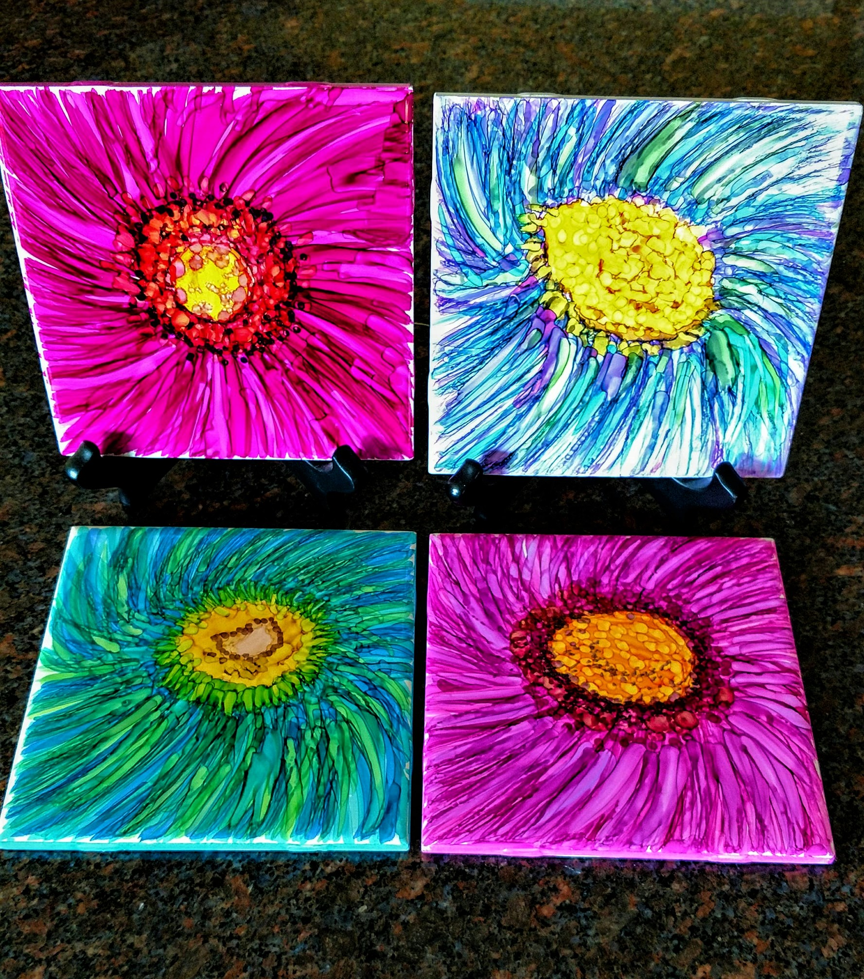 "6X6  ""Late Bloomers"" on Ceramic Tiles with alcohol ink markers Display Sold Separately  Host a PaintnParty 4/4x4 or 2/6x6 Tiles $40"