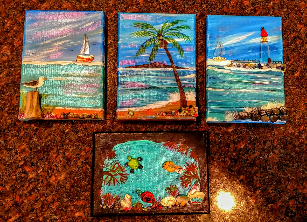 "(1) 5x7 ""beachy"" pet rocks -"