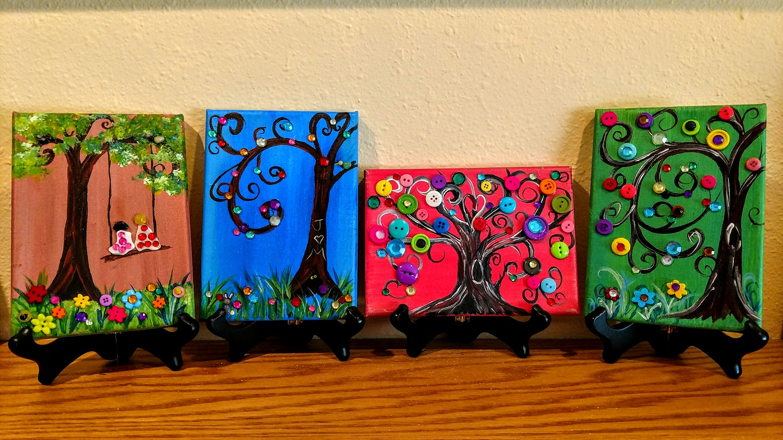 "(1) 5x7 ""button trees"" -"