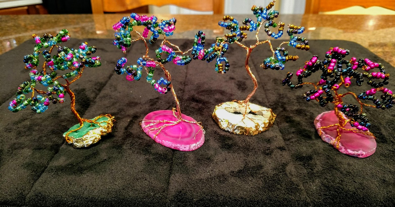 glass beading tree workshop on agates and Geodes* - LEARN copper wire twisting, beading techniques.