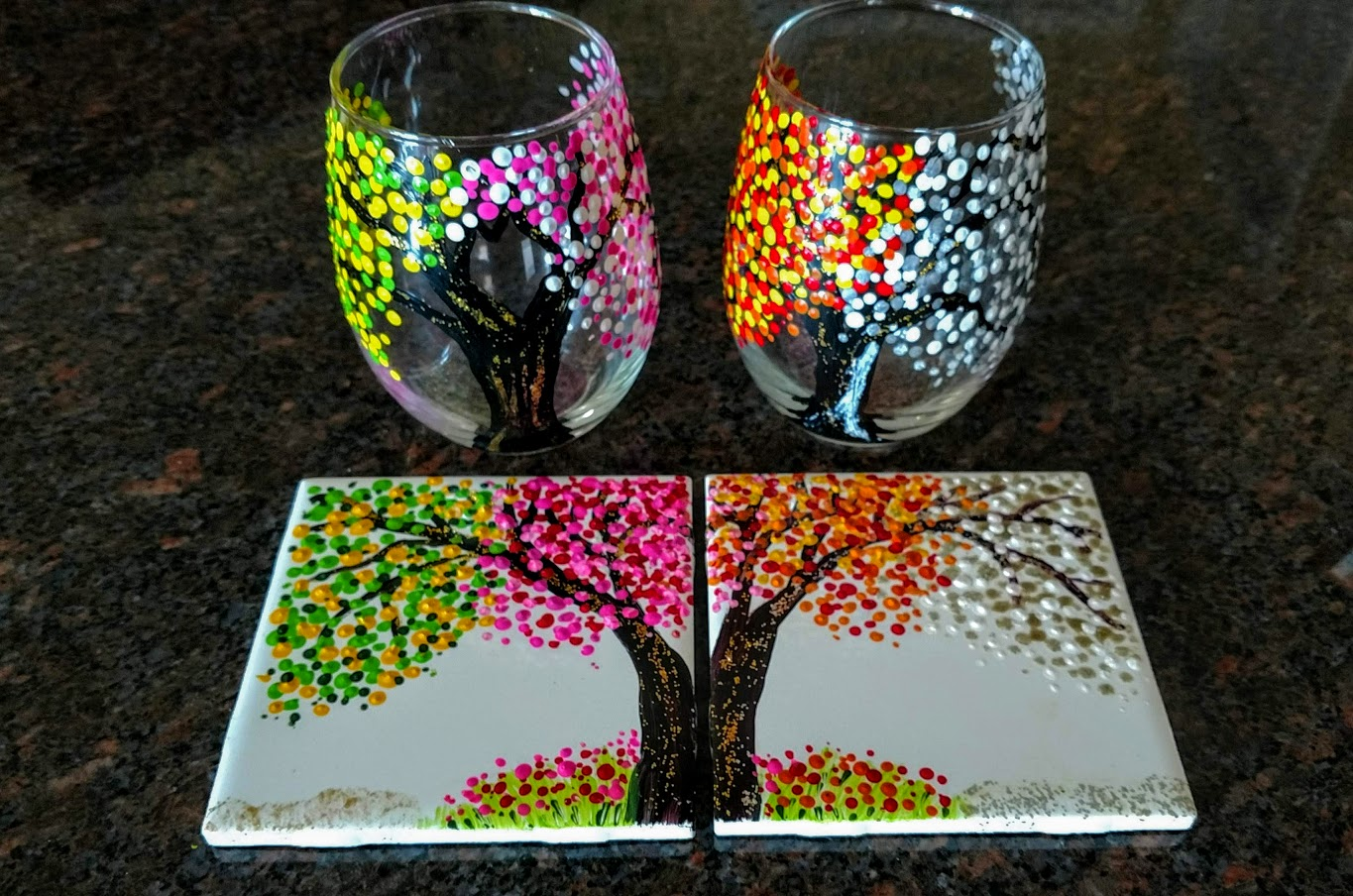 - 4/$40 Four seasons 2 glasses & 2 tiles