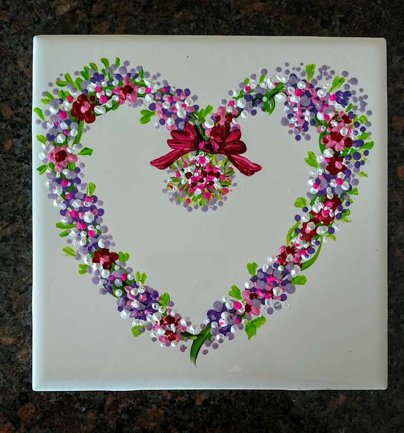 "Mandala Heart Wreath, Babies Birth date, Anniversaries $35 on 6""x""6"" Ceramic Tile Top Rack Dishwasher Safe after Heat Set"