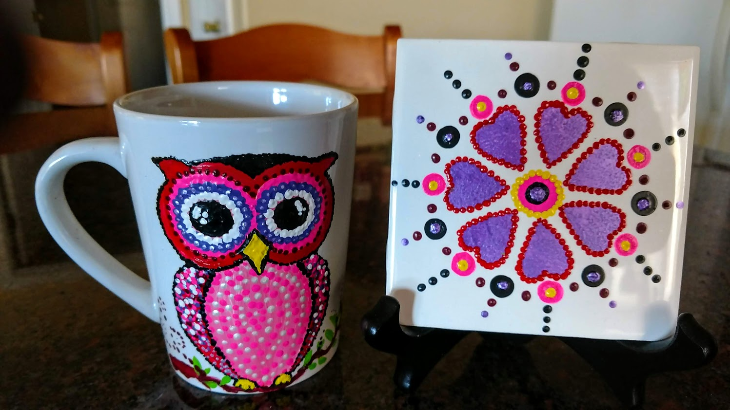 "4.25""x4.25"" Tile - 2/$40 mandala ""owl be there"" mug & tile"
