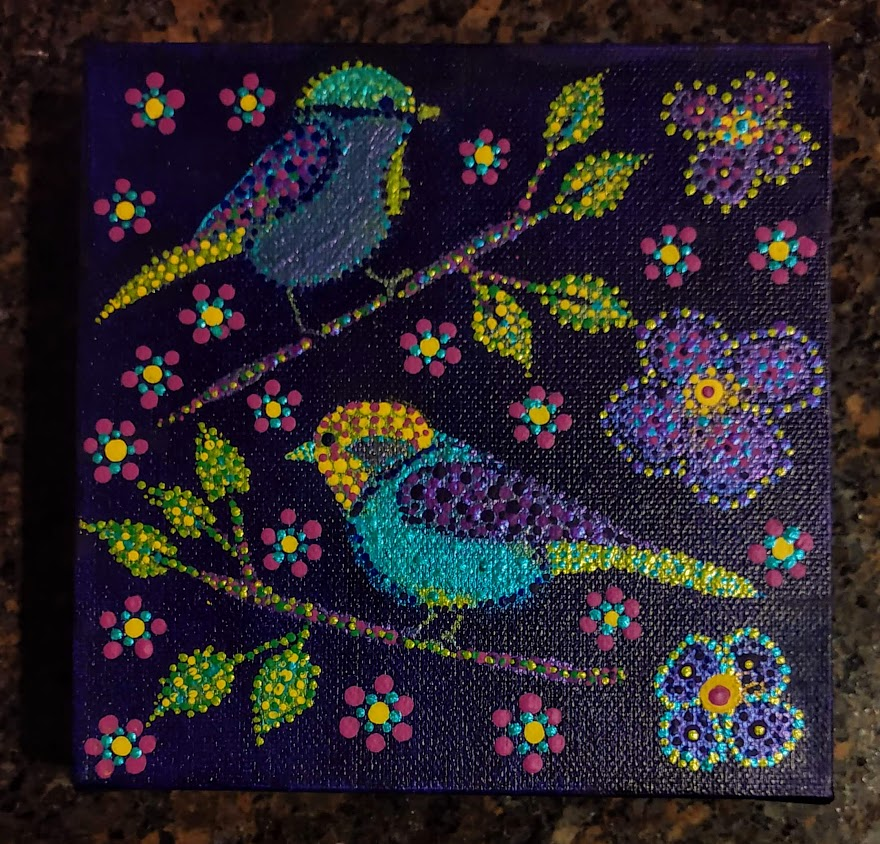 """Metallic Birdies"" Mandala 6""x6"" x 1.5"" Deep Canvas $35"