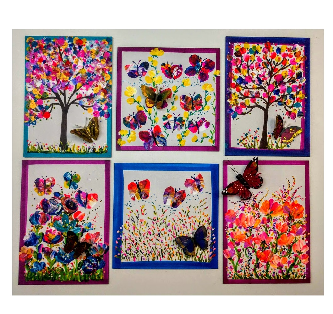 "(2) 5x7 or 6x6* Canvas ""fingerprints"" Make Trees, Butterflies & Flowers with Your Fingers and add a 3D butterfly to Finish -"