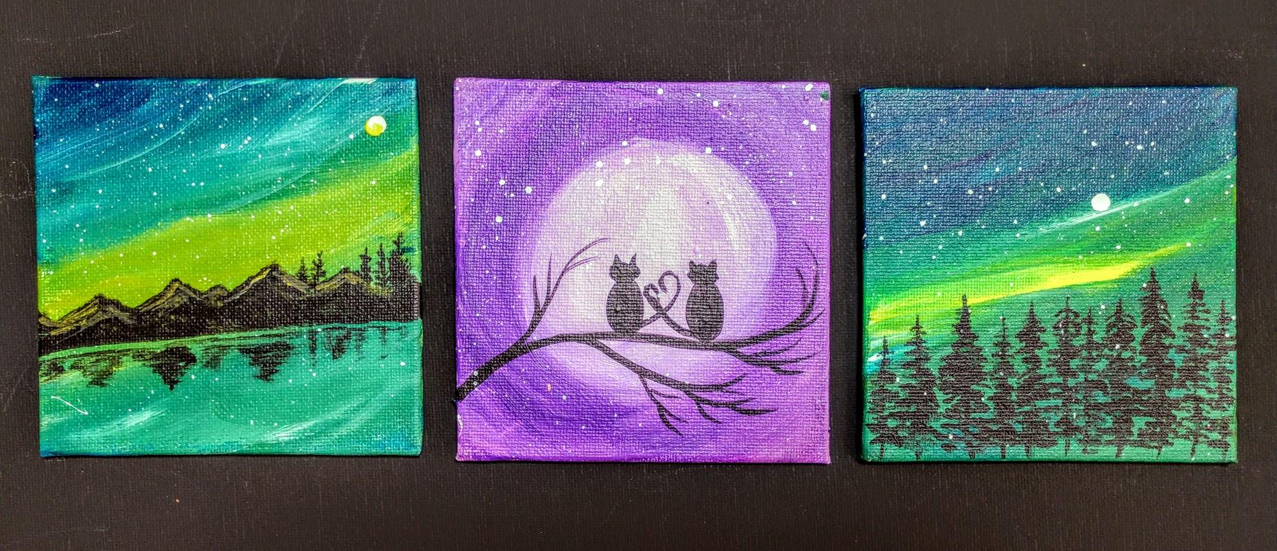 (3) 4x4 Northern Nights  Canvas