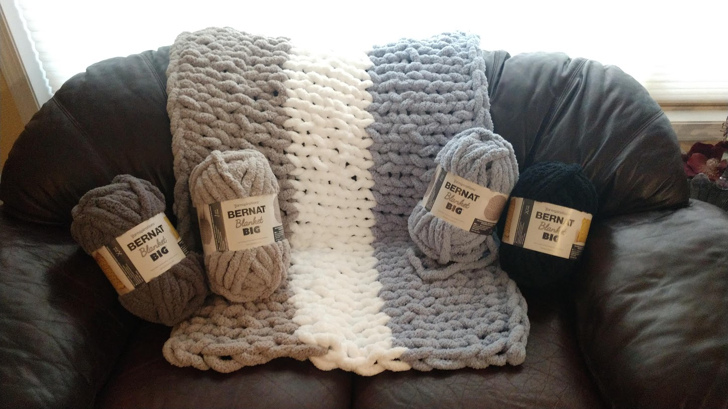 """""""SHADES""""   PURCHASE: 3 SKEINS, BERNAT (MICAHEL'S),  ADDITIONAL SUPPLIES NEEDED: SMALL SCISSORS, EMBROIDERY NEEDLES, WHITE QUILTERS THREAD.  1/1/1,, 25 ROWS, BABY/CHILD'S/DOGGY/LAP BLANKET  CLASS TIME: 3 HOURS- $50"""