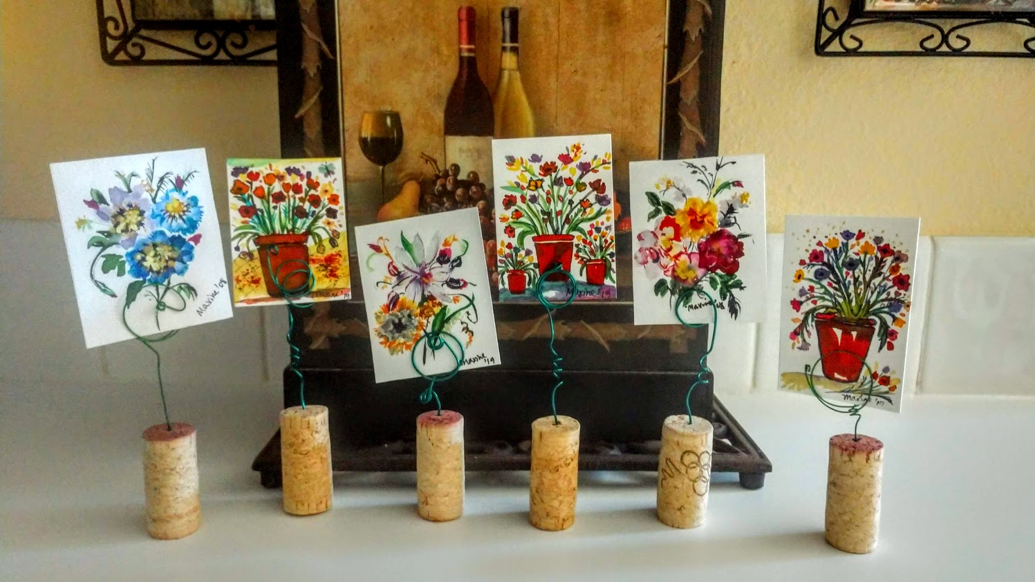 """uNCORKED'' MINIATURE WATERCOLOR POTS!"