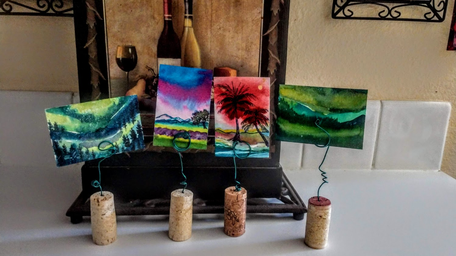 "3/$35 Mini Uncorked Watercolor Landscape Pots 2""X3"""