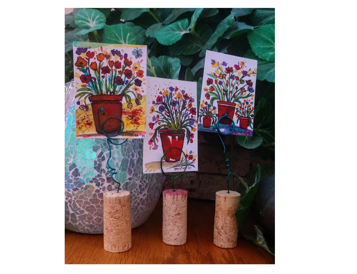 "3/$35 Mini Uncorked Watercolor Flower Pots 2""X3"""