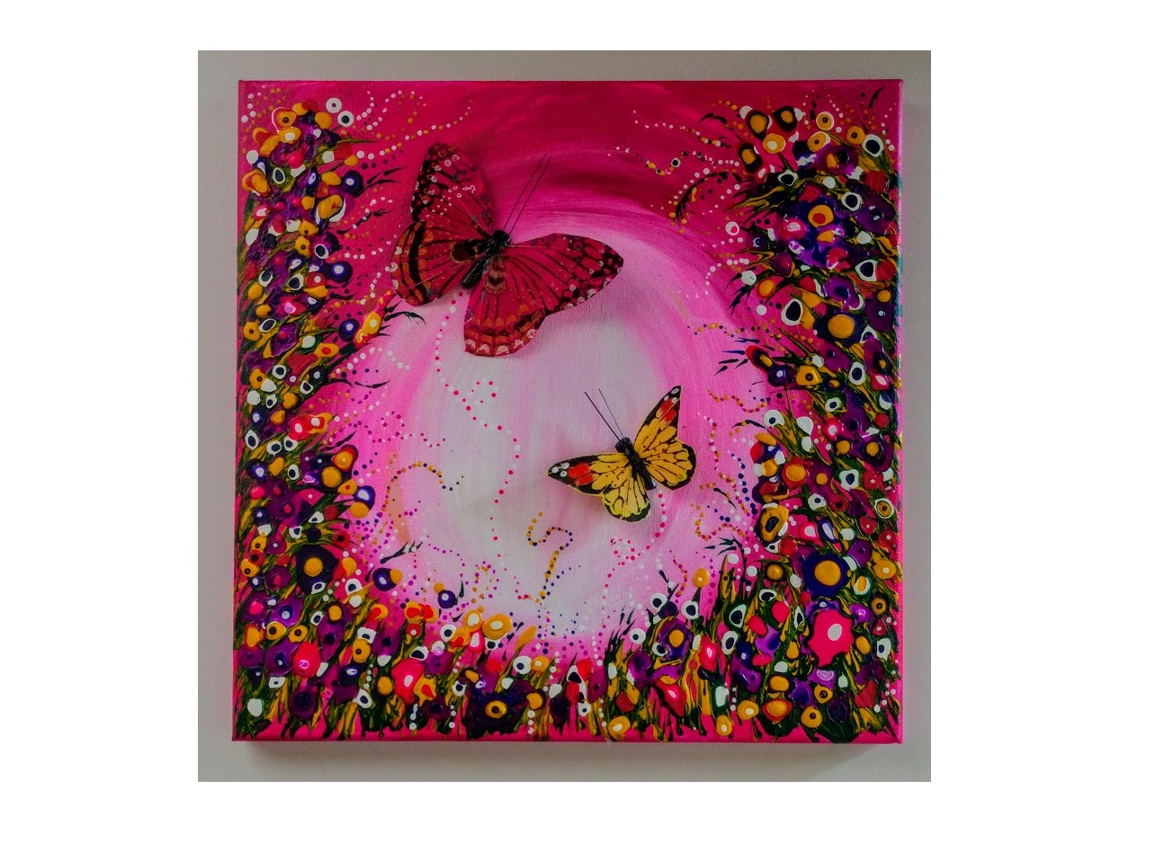 """12X12 $40 HOT PINK """"FLY ME TO THE MOON""""  DRIPPING DOTS & MANDALA"""