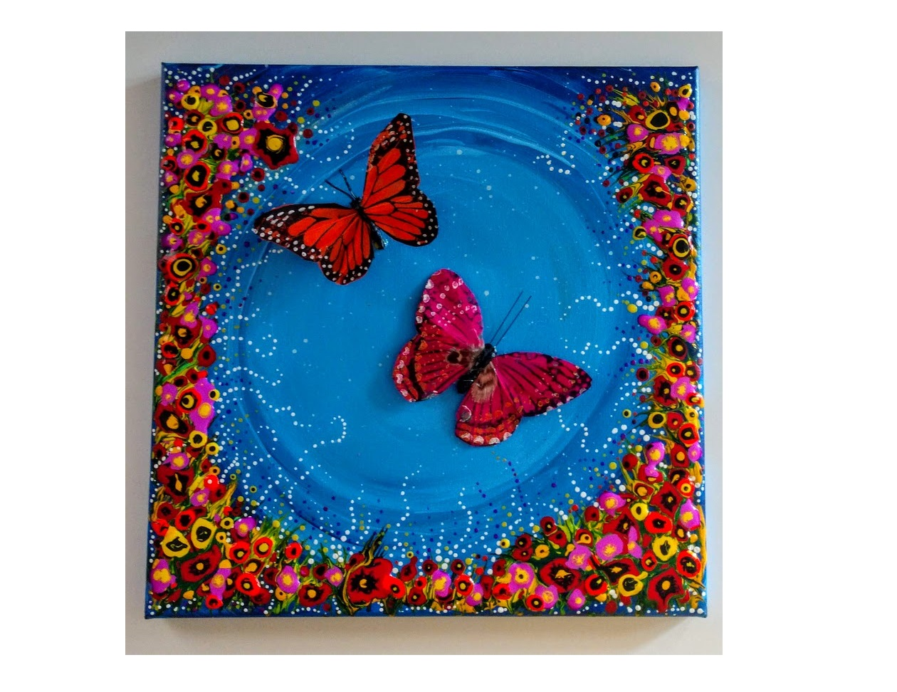 """12X12 $40 BLUES """"FLY ME TO THE MOON""""   DRIPPING DOTS & MANDALA"""
