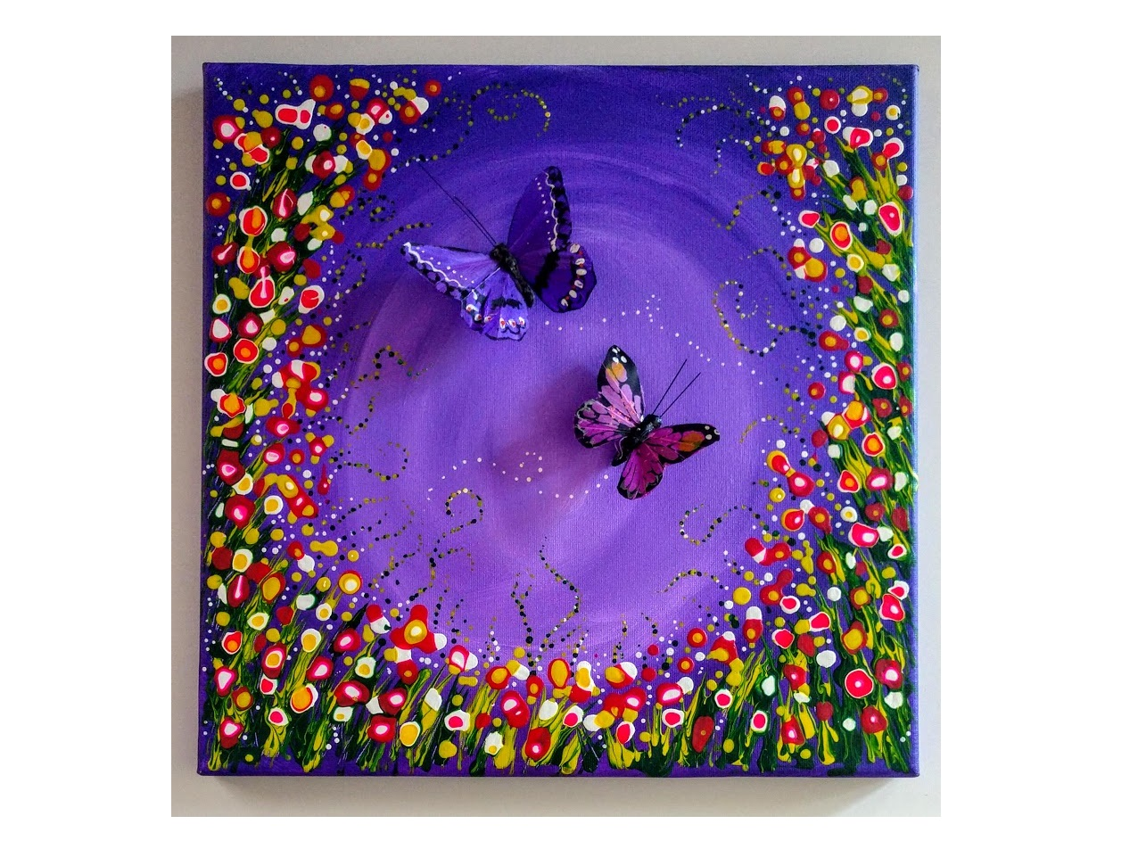 """12X12 $40 PURPLE """"FLY ME TO THE MOON""""   DRIPPING DOTS & MANDALA"""