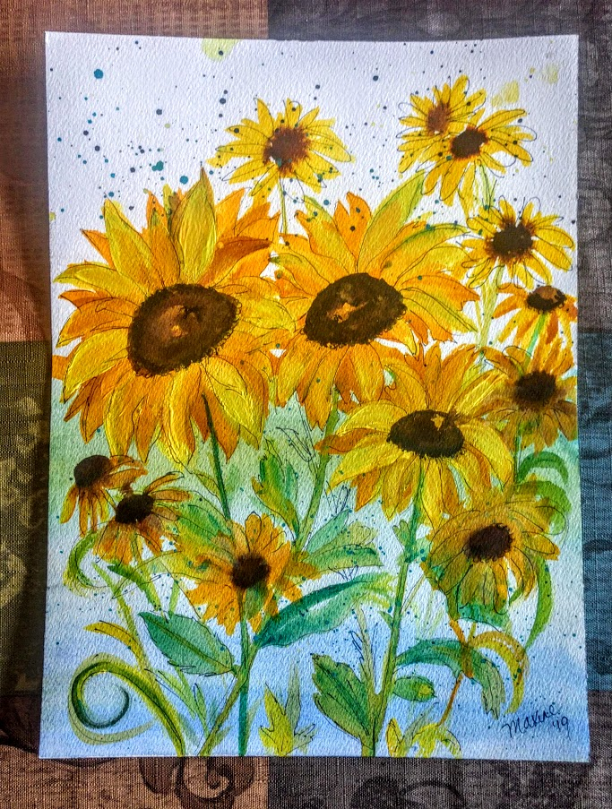 9X12 WATERCOLORS & INK - $35 SUNFLOWERS