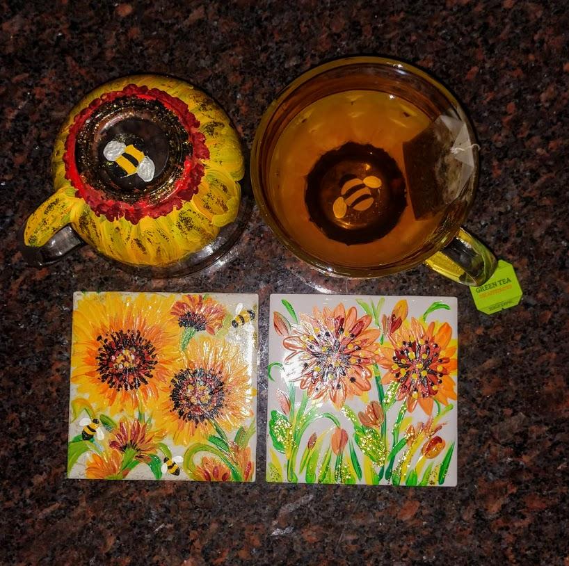 usable Artware-Top Rack Dishwasher Safe! - bee'n busy s'mugs & ceramic tilesset 4/$40