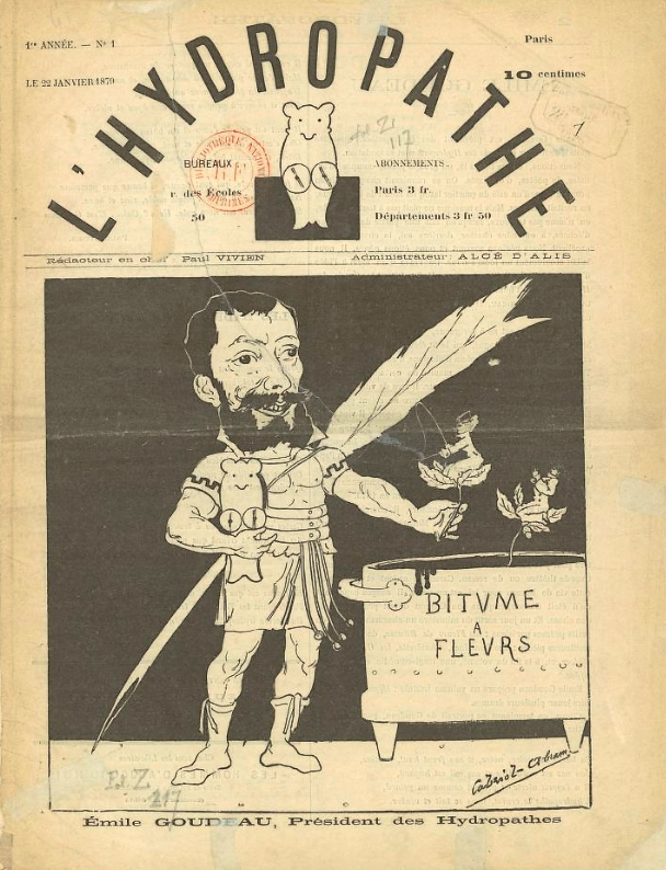 L'Hydropathe ,no 1 du 22 janvier 1879, avec Émile Goudeau, fondateur, caricaturé par  Georges Lorin , dit Cabriol.