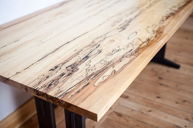 Trestle table I built from a tree that I almost cut up into firewood.  #woodworking