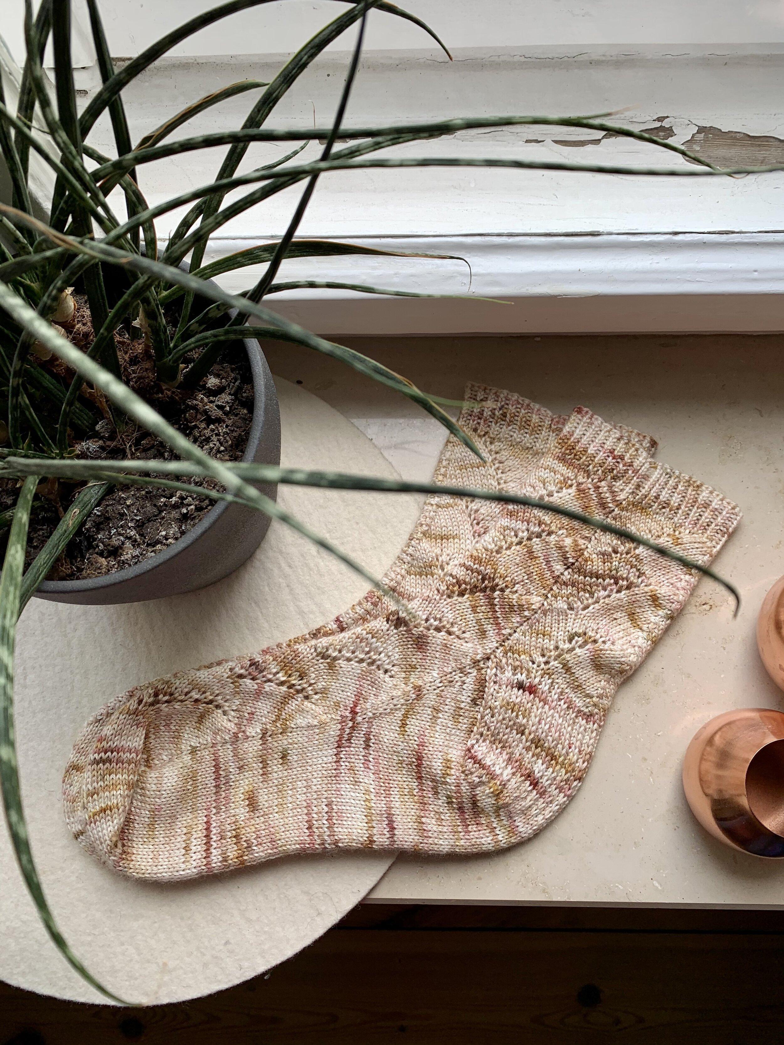 Hanna Lisa's Wild Grass Socks, knit in Woolapyk yarn