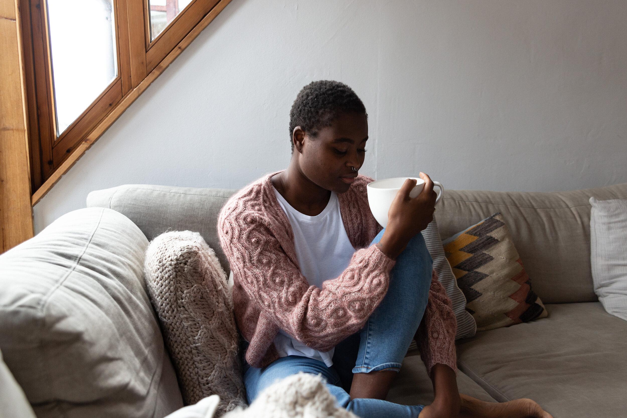 Bindweed Cardigan (Ksenia Naidyon, Issue 5), sample knit in Knitting for Olive Merino (Powder) & Soft Silk Mohair (Plum Rose)